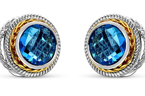 Blue topaz 18 karat gold and silver post earrings