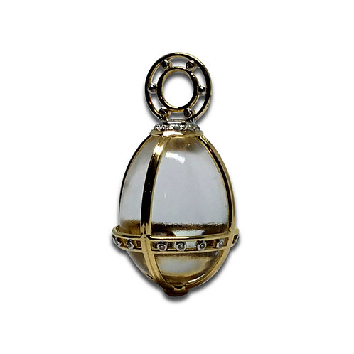 Large gem crystal and diamond Imperial egg pendant