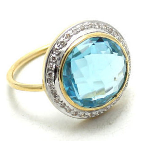 Blue topaz diamond halo 18 k ring