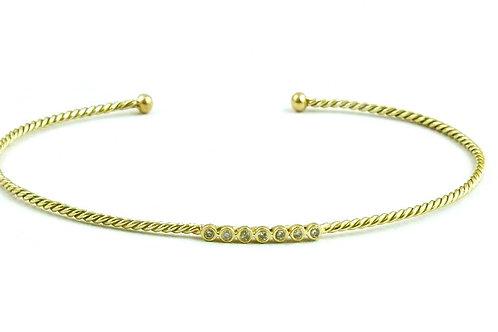 Diamond gold flexible bangle