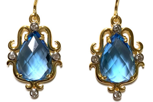 Blue topaz and diamond pear shaped ornate 18 karat earrings