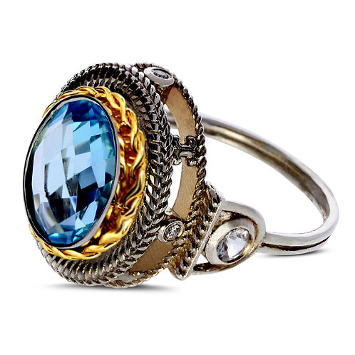 Blue topaz two-tone diamond and sapphire ring ring