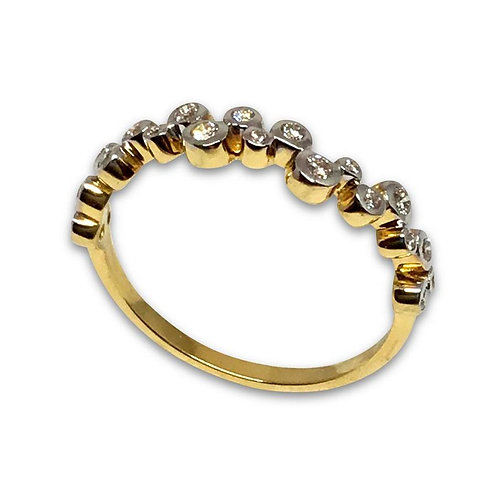 Diamond 18 karat gold bubbles ring