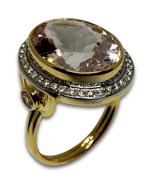 Morganite diamond halo and white sapphire 18 karat gold ring