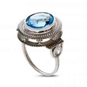Diamond and sapphire silver ring with center gem