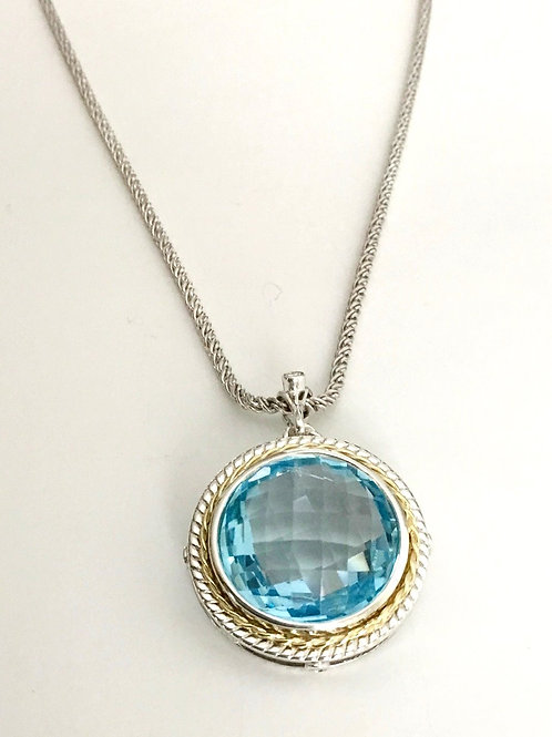 Large blue topaz and diamond pendant with bail and chain