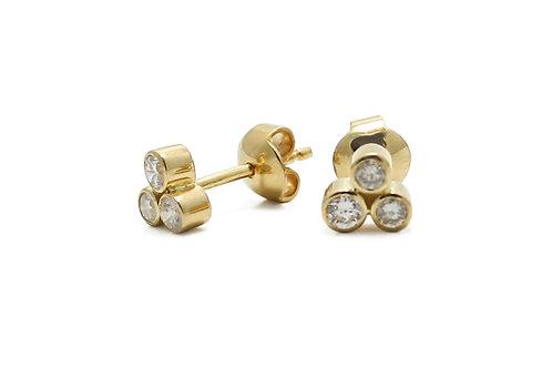 Diamond earrings 3 stone 18 karat gold
