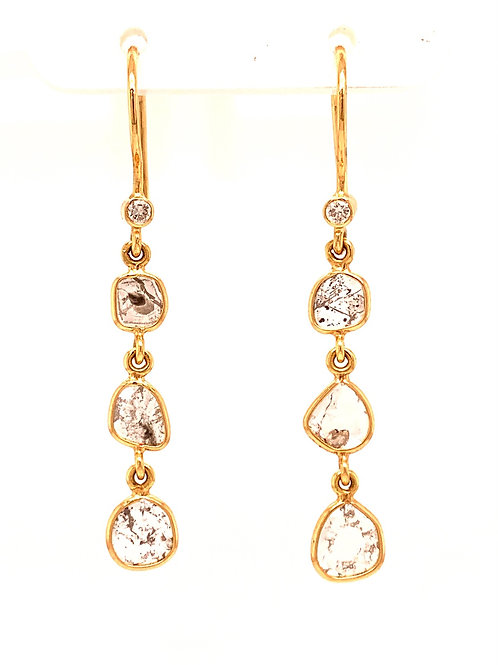 Diamond slice dangle earrings 18 k gold