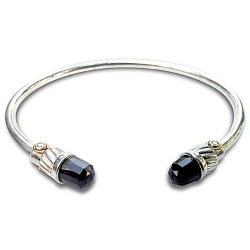 Diamond black spinel 18 karat gold and sterling silver large bangle