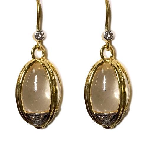 Imperial egg gem crystal and diamond 18 k gold earrings