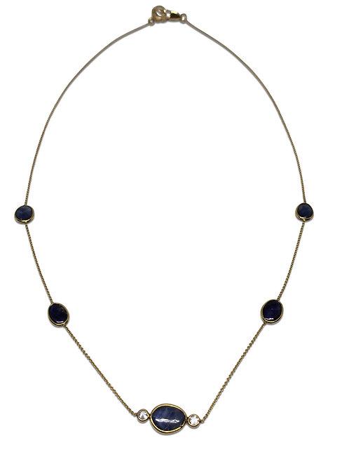 Sapphire and diamond 18 k necklace