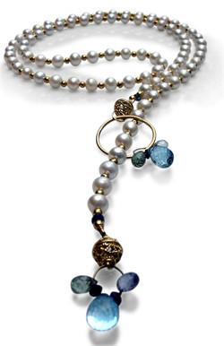 Pearl Aquamarine Sapphire Lariat