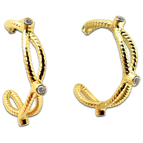 Diamond lattice hoop earrings 18 karat gold