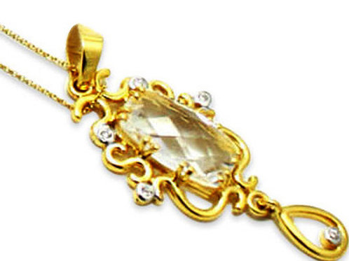 Ornate pendant gem crystal and diamond 18 k