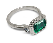 Platinum Emerald and Diamond ring  from