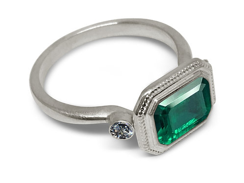 Emerald diamond platinum milgrain ring