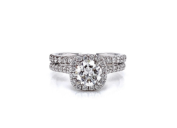 14kt White Gold Ladies 1.01ct Round Diamond Cushion Halo Ring