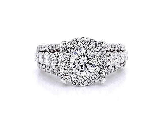 14kt White Gold 2.17ctw Round Diamond Hybrid Halo Ring
