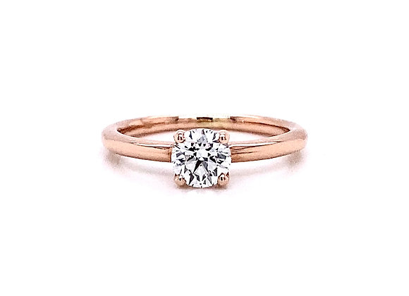 14kt Rose Gold 0.51ct Round Diamond Solitaire Ring