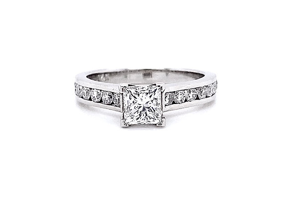 14kt White Gold 1.25ctw Princess Cut Diamond Channel Style Ring