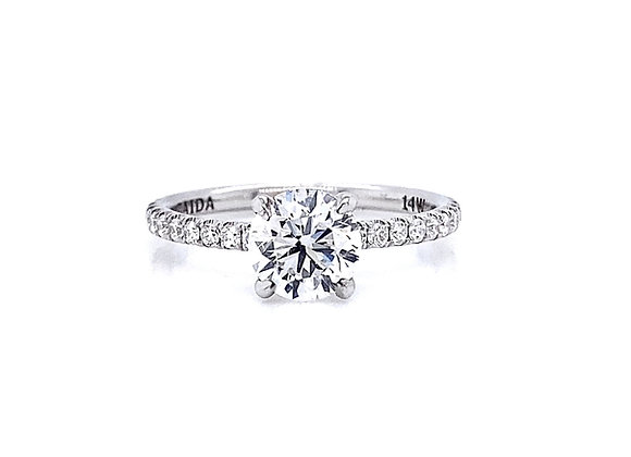 14kt White Gold Ladies 1.23ctw Round Diamond Side Stone Ring