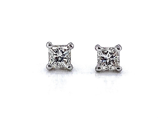 14kt White Gold Ladies 0.67ctw Princess Cut Diamond Studs