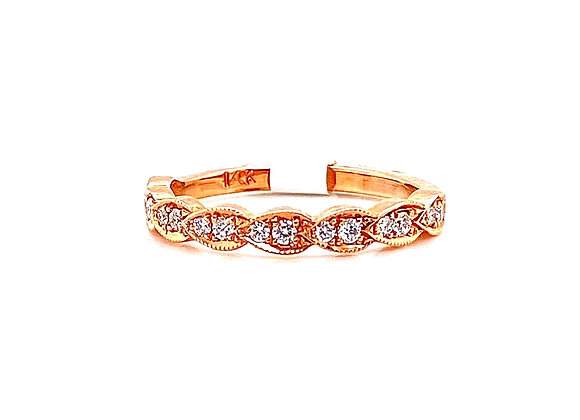 14kt Rose Gold Ladies Vintage Style Band