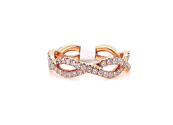 14kt Rose Gold Ladies Diamond Swirl Eternity Band