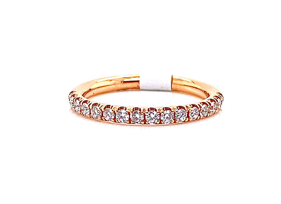 14kt Rose Gold Ladies Diamond Straight Band