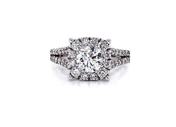 14kt White Gold Ladies 1.00ct Round Diamond Hybrid Halo Ring