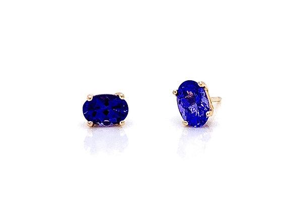 14kt Yellow Gold Ladies 1.08ctw Oval Amethyst Gemstone Earrings