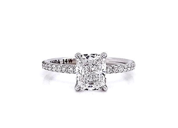 14kt White Gold 1.54ctw Cushion Cut Diamond Side Stone Ring