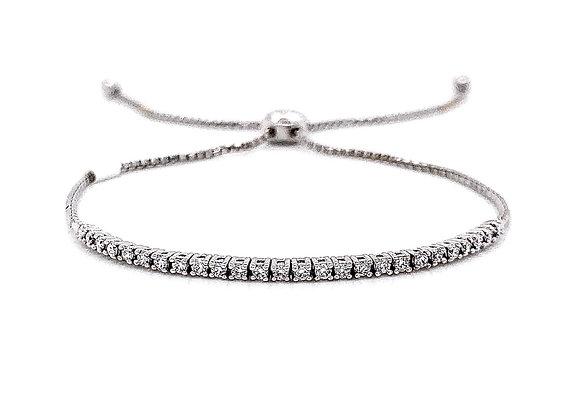 14kt White Gold Ladies 0.41ctw Round Diamond Bolo Bracelet
