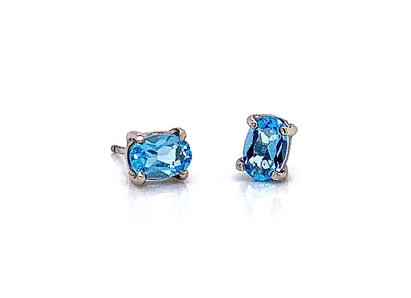 14kt White Gold Ladies 0.97ctw Oval Blue Topaz Gemstone Earrings