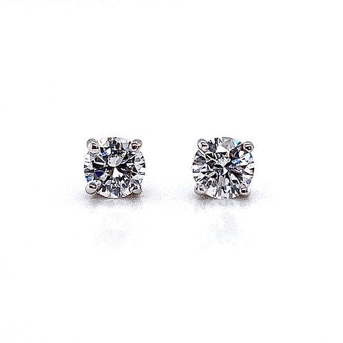 14kt White Gold Ladies 1.03ctw Round Diamond Stud Earrings