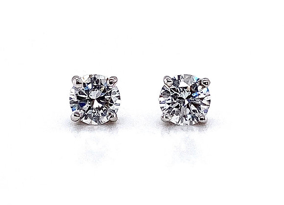 14kt White Gold Ladies 1.03ctw Round Diamond Stud Earrings