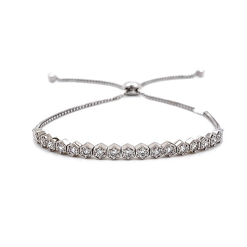 14kt White Gold Ladies 0.75ctw Vintage Round Diamond Bolo Bracelet