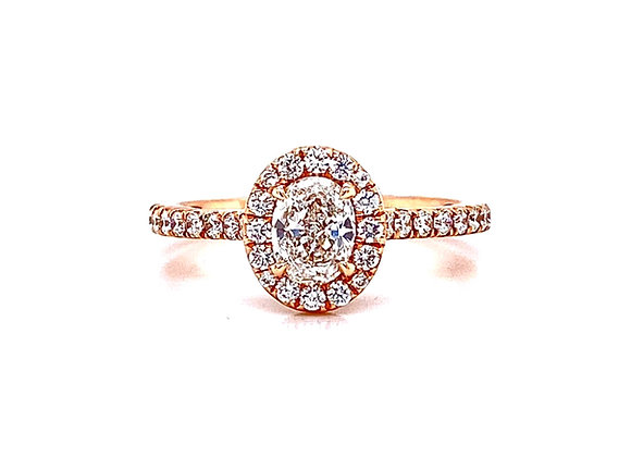 14kt Rose Gold 0.50ct Oval Diamond Halo Ring