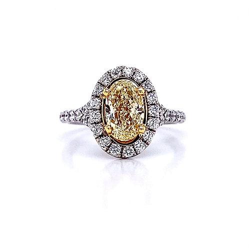 18kt Two-Tone Oval Cut Fancy Yellow Diamond Halo Ring