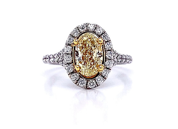 18kt Two-Tone Oval Cut Fancy Yellow Diamond Halo Ring