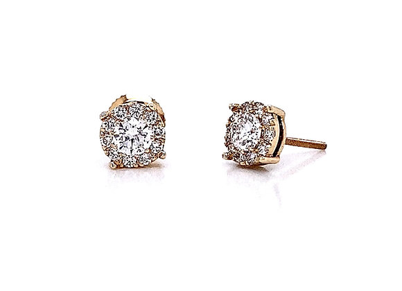 14kt Yellow Gold 0.65ctw Round Diamond Halo Earrings