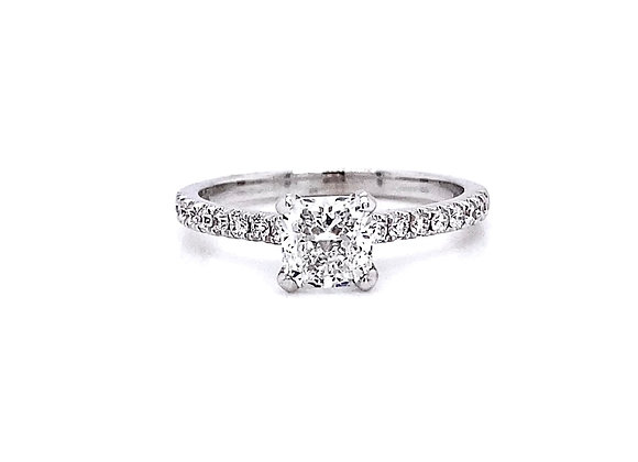 14kt White Gold 0.91ctw Cushion Diamond Side Stone Ring