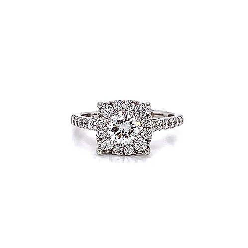 14kt White Gold Ladies 1.45ctw Round Diamond Hybrid Halo Ring