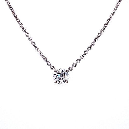 14kt White Gold Ladies 0.70ct Round Diamond Solitaire Pendant