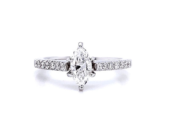 14kt White Gold 0.66ctw Marquise Diamond Side Stone Ring