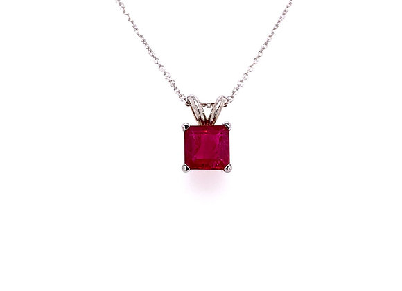 14kt White Gold Ladies 1.03ct Square Cut Pink Tourmaline Gemstone Pendant