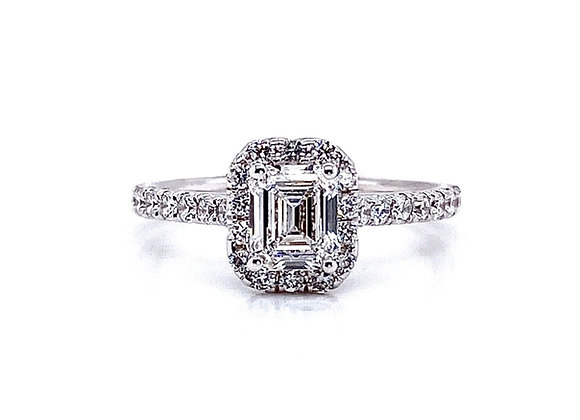 14kt White Gold 0.70ct Emerald Cut Diamond Halo Ring