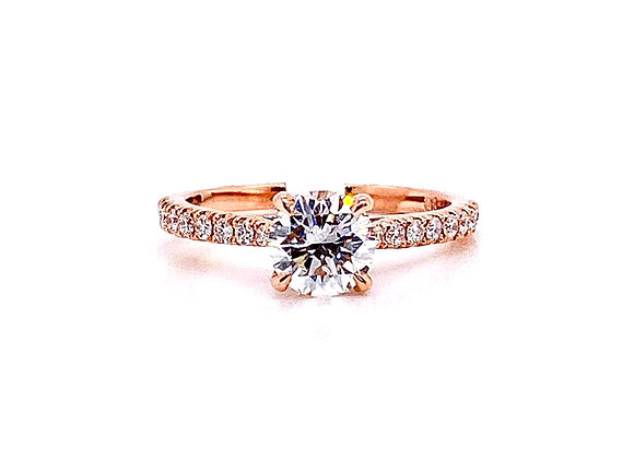 14kt Rose Gold 1.00ct Round Diamond Side Stone Ring