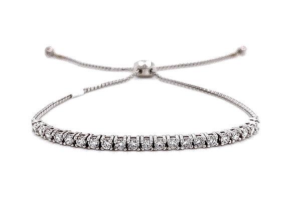 14kt White Gold Ladies 0.72ctw Round Diamond Bolo Bracelet