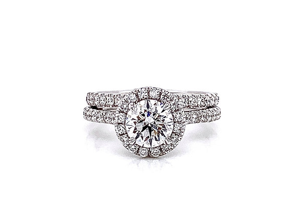 14kt White Gold Ladies 1.00ct Round Diamond Halo Wedding Set